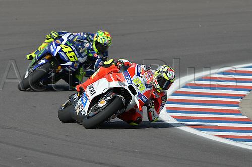 01.04.2016. Termas de Río Hondo, Santiago del Estero, Argentina. MotoGP of Argentina, free practise.  Andrea Iannone- followed by Valentino Rossi