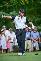 Louis Oosthuizen (RSA) watches his tee shot on 11 during Saturday's round 3 of the PGA Championship at the Quail Hollow Club in Charlotte, North Carolina. 8/12/2017.<br /> Picture: Golffile | Ken Murray<br /> <br /> <br /> All photo usage must carry mandatory copyright credit (&copy; Golffile | Ken Murray)