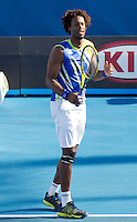 GAEL MONFILS (FRA) against MIKHAIL KUKUSHKIN (KAZ) in the third round of the Men's Singles. Mikhail Kukushkin beat Gael Monfils 6-2 7-5 5-7 1-6 6-4..21/01/2012, 21st January 2012, 21.01.2012..The Australian Open, Melbourne Park, Melbourne,Victoria, Australia.@AMN IMAGES, Frey, Advantage Media Network, 30, Cleveland Street, London, W1T 4JD .Tel - +44 208 947 0100..email - mfrey@advantagemedianet.com..www.amnimages.photoshelter.com.