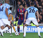 11.03.2015 Barcelona.UEFA champions League. Rounf 0f 16 2nd leg. Picture show Luis Suarez during game between FC Barcelona against Manchester city at Camp Nou
