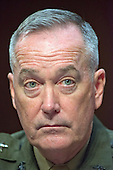 """General Joseph F. Dunford, Jr., USMC, Chairman of The Joint Chiefs Of Staff, gives testimony before the United States Senate Committee on Armed Services during the hearing on """"Counter-ISIL (Islamic State of Iraq and the Levant) Operations and Middle East Strategy"""" on Capitol Hill in Washington, DC on Thursday, April 28, 2016.<br /> Credit: Ron Sachs / CNP"""