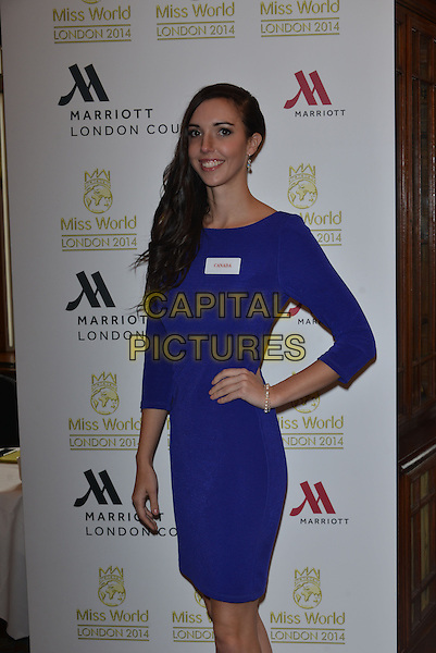 Miss Canada   Annora BOURGEAULT<br /> photocall for Miss World 2014 contestants in central London, on November 25, 2014. This year's Miss World contest will take place in London on December 14, 2014<br /> CAP/PL<br /> &copy;Phil Loftus/Capital Pictures