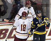 Michael Sit (BC - 18), Chris Calnan (BC - 11), Chris LeBlanc (Merrimack - 16) - The Boston College Eagles defeated the visiting Merrimack College Warriors 2-1 on Wednesday, January 21, 2015, at Kelley Rink in Conte Forum in Chestnut Hill, Massachusetts.