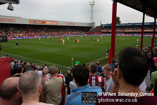 The view across the stadium from the Ealing Road terrace as Brentford hosted Leeds United in an EFL Championship match at Griffin Park. Formed in 1889, Brentford have played their home games at Griffin Park since 1904, but are moving to a new purpose-built stadium nearby. The home team won this match by 2-0 watched by a crowd of 11,580.