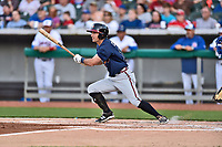 Mississippi Braves right fielder Keith Curcio (14) swings at a pitch during a game against the Tennessee Smokies at Smokies Stadium on April 12, 2017 in Kodak, Tennessee. The Braves defeated the Smokies 6-2. (Tony Farlow/Four Seam Images)