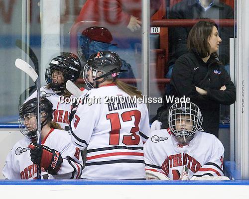 Alyssa Wohlfeiler (NU - 8), Lindsay Berman (NU - 13), Florence Schelling (NU - 41) - The University of Connecticut Huskies defeated the Northeastern University Huskies 4-1 in Hockey East quarterfinal play on Saturday, February 27, 2010, at Matthews Arena in Boston, Massachusetts.