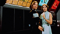 Logan's Run (1976) <br /> Behind the scenes photo of Jenny Agutter &amp; Michael York<br /> *Filmstill - Editorial Use Only*<br /> CAP/KFS<br /> Image supplied by Capital Pictures