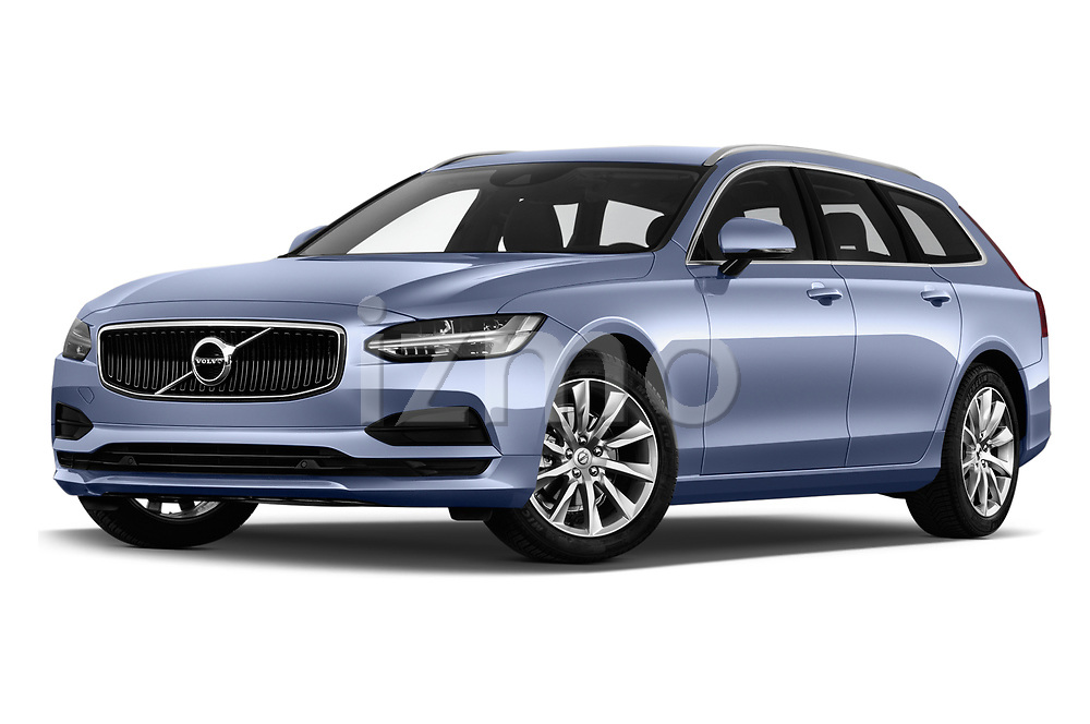 Stock pictures of low aggressive front three quarter view of a 2019 Volvo V90 Momentum 5 Door Wagon