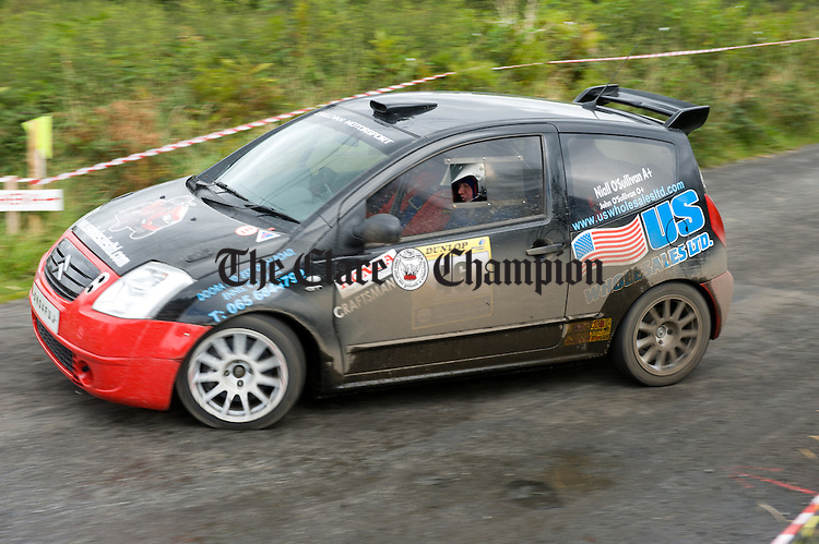 John O Sullivan of Ennis and Tadhg Collins of Clarecastle in action during Stage 5 of the Clare Stages Rally at Ballinruan/Crusheen. Photograph by John Kelly.