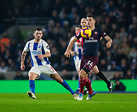 Arsenal's Granit Xhaka (right)  under pressure from  Brighton & Hove Albion's Pascal Gross (left) <br /> <br /> Photographer David Horton/CameraSport<br /> <br /> The Premier League - Brighton and Hove Albion v Arsenal - Wednesday 26th December 2018 - The Amex Stadium - Brighton<br /> <br /> World Copyright © 2018 CameraSport. All rights reserved. 43 Linden Ave. Countesthorpe. Leicester. England. LE8 5PG - Tel: +44 (0) 116 277 4147 - admin@camerasport.com - www.camerasport.com