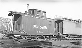 Short caboose #0500.<br /> D&amp;RGW  Durango, CO  Taken by Dunscomb, Guy L. - 8/1940