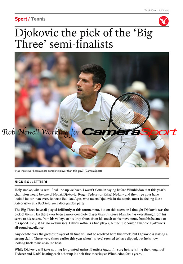 The Independent - 11-Jul-2019 - 'Djokovic the pick of the 'Big Three' semi-finalists' - Photo by Rob Newell (Camerasport via Getty Images)