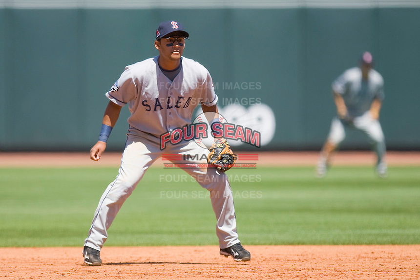 Shortstop Luis Segovia #34 of the Salem Red Sox on defense against the Winston-Salem Dash at  BB&T Ballpark May 9, 2010, in Winston-Salem, North Carolina.  Photo by Brian Westerholt / Four Seam Images