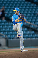 Myrtle Beach Pelicans starting pitcher Tommy Thorpe (6) in action against the Winston-Salem Dash at BB&T Ballpark on April 18, 2016 in Winston-Salem, North Carolina.  The Pelicans defeated the Dash 6-4.  (Brian Westerholt/Four Seam Images)