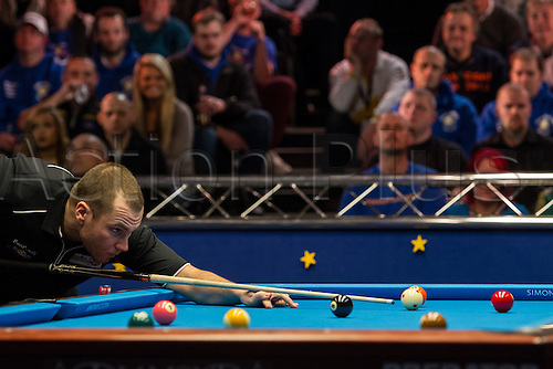 13.12.2012 London, England. X in action during the Mosconi Cup International Pool Championships  between Team Europe and Team America from York Hall.
