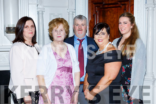 Mary Cronin, Theresa O'Sullivan, Tommy and June O'Sullivan and  Anna Boyle at the South West Harriers Hunt club social in the Killarney Avenue Hotel on Saturday night