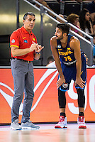Spain's basketball coach Sergio Scariolo talking with Ricky Rubio during the  match of the preparation for the Rio Olympic Game at Madrid Arena. July 23, 2016. (ALTERPHOTOS/BorjaB.Hojas) /NORTEPHOTO.COM