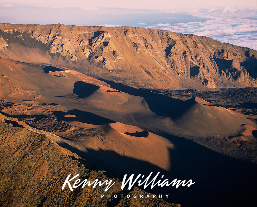 Volcanic Cinder Cone Craters, Aerial View, Haleakala National Park, Maui, Hawaii, USA.