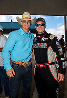 Oct 16, 2016; Ennis, TX, USA; Professional bull rider Ty Murray (left) with NHRA top fuel driver Steve Torrence during the Fall Nationals at Texas Motorplex. Mandatory Credit: Mark J. Rebilas-USA TODAY Sports