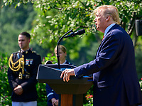 United States President Donald J. Trump makes remarks prior to signing H.R. 1327, an act to permanently authorize the September 11th victim compensation fund, in the Rose Garden of the White House in Washington, DC on Monday, July 29, 2019. <br /> Credit: Ron Sachs / Pool via CNP/AdMedia