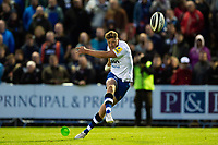 Rhys Priestland of Bath Rugby kicks for the posts. Pre-season friendly match, between Edinburgh Rugby and Bath Rugby on August 17, 2018 at Meggetland Sports Complex in Edinburgh, Scotland. Photo by: Patrick Khachfe / Onside Images
