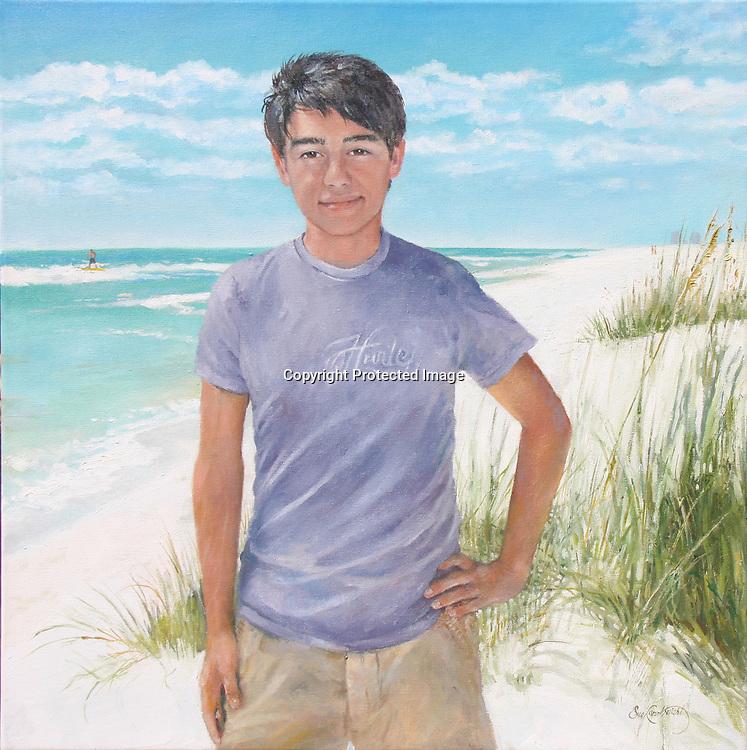 Boy at Beach oil portrait