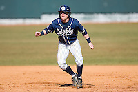 Zeb Link #2 of the Catawba Indians takes his lead off of first base versus the Shippensburg Red Raiders on February 14, 2010 in Salisbury, North Carolina.  Photo by Brian Westerholt / Four Seam Images