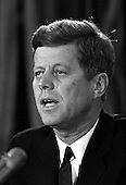United States President John F. Kennedy addresses the nation on radio and television on the Soviet arms buildup in Cuba from the White House in Washington, DC on Monday, October 22, 1962.<br /> Credit: Arnie Sachs / CNP