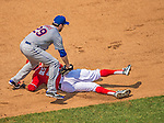 28 July 2013: Washington Nationals shortstop Ian Desmond is caught in a rundown by Ike Davis during a game against the New York Mets at Nationals Park in Washington, DC. The Nationals defeated the Mets 14-1. Mandatory Credit: Ed Wolfstein Photo *** RAW (NEF) Image File Available ***