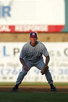 Nate Gold of the Stockton Ports at first base during a 2004 season California League game against the High Desert Mavericks at Mavericks Stadium in Adelanto, California. (Larry Goren/Four Seam Images)