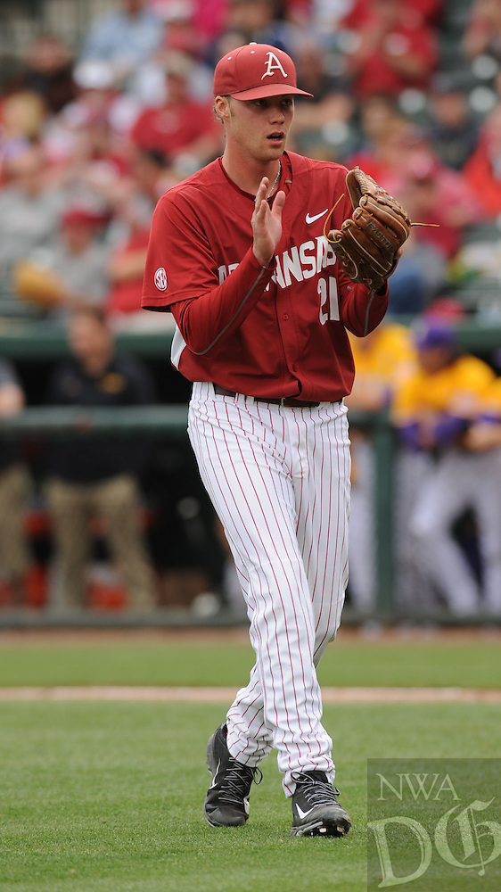NWA Democrat-Gazette/ANDY SHUPE - Starting pitcher Trey Killian of Arkansas celebrates the final out of the sixth inning against LSU Saturday, March 21, 2015, at Baum Stadium in Fayetteville. Visit nwadg.com/photos for more photos from the game.