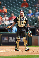 Vanderbilt Commodores catcher Stephen Scott (19) on defense against the Sam Houston State Bearkats in game one of the 2018 Shriners Hospitals for Children College Classic at Minute Maid Park on March 2, 2018 in Houston, Texas. The Bearkats walked-off the Commodores 7-6 in 10 innings.   (Brian Westerholt/Four Seam Images)