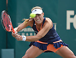 Angelique Kerber (GER) defeats fellow German Andrea Petkovic (GEr) 6-4, 6-4 in the semis at the Family Circle Cup in Charleston, South Carolina on April 11, 2015.