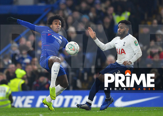 Willian of Chelsea and Danny Rose of Tottenham Hotspur battle for possession during the Carabao Cup Semi-Final 2nd leg match between Chelsea and Tottenham Hotspur at Stamford Bridge, London, England on 24 January 2019. Photo by Vince  Mignott / PRiME Media Images.