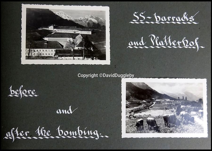 BNPS.co.uk (01202 558833)<br /> Pic: DavidDuggleby/BNPS<br /> <br /> The Platterhof Hotel and SS barracks before and after a devastating RAF raid in April 1945.<br /> <br /> This amazing photo album reveals the close knit alpine community where Hitler and his henchmen worked and played.<br /> <br /> The album was brought back to Britain by a British administrator of the railways in post war Germany and reveals the cosy living arrangements of the high ranking Nazi's of Hitlers Third Reich.<br /> <br /> It shows the homes of Hitler, Martin Boorman and Hermann Goering in tiny Berchtesgaden in Bavaria, and also the infamous Eagles Nest on a mountain top nearby where the evil dictator would dream his dreams whilst taking in the stunning vista.<br /> <br /> The unique album is being sold by David Duggleby auctioneers in Scarborough on the 7th October.