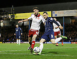Southend's Ben Coker tussles with Sheffield United's Chris Basham during the League One match at Roots Hall Stadium.  Photo credit should read: David Klein/Sportimage