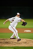 Bowie Baysox relief pitcher Reid Love (32) delivers a pitch during the second game of a doubleheader against the Trenton Thunder on June 13, 2018 at Prince George's Stadium in Bowie, Maryland.  Bowie defeated Trenton 10-1.  (Mike Janes/Four Seam Images)