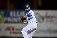 Miguel Urena (55) of the Ogden Raptors delivers a pitch to the plate against the Great Falls Voyagers at Lindquist Field on September 14, 2017 in Ogden, Utah. The Raptors defeated the Voyagers 7-4 in Game One of the Pioneer League Championship. (Stephen Smith/Four Seam Images)