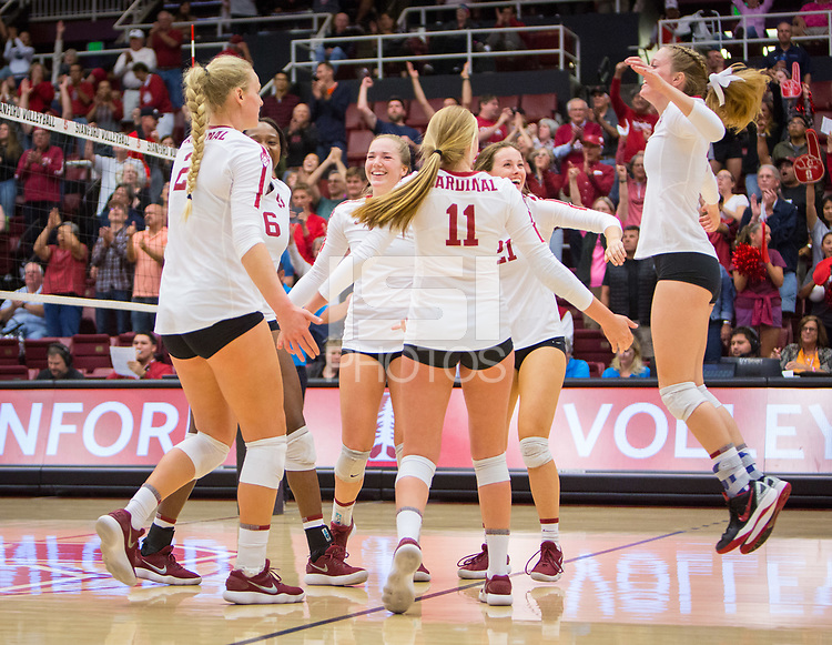 STANFORD, CA - October 12, 2018: Kathryn Plummer, Tami Alade, Jenna Gray, Kate Formico, Sidney Wilson, Meghan McClure at Maples Pavilion. No. 2 Stanford Cardinal swept No. 21 Washington State Cougars, 25-15, 30-28, 25-12.