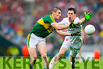 Stephen O'Brien, Kerry in Action AgainstSean Cavanagh, Tyrone in the All Ireland Semi Final at Croke Park on Sunday.