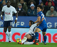 Mousa Dembele of Tottenham battles with Shinji Okazaki of Leicester City during the Premier League match between Leicester City and Tottenham Hotspur at the King Power Stadium, Leicester, England on 28 November 2017. Photo by James Williamson / PRiME Media Images.