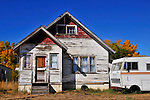 Old house and old RV.Val Marie Saskatchewan.