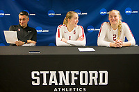 STANFORD, CA - December 1, 2018: Jenna Gray, Kathryn Plummer, Kevin Hambly at Maples Pavilion. The Stanford Cardinal defeated Loyola Marymount 25-20, 25-15, 25-17 in the second round of the NCAA tournament.