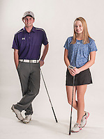 NWA Democrat-Gazette/ANTHONY REYES • @NWATONYR<br /> Luke Long of Fayetteville (left) and Brooke Matthews of Rogers Wednesday, Dec. 2, 2015 at the Northwest Arkansas Democrat Gazette office in Springdale. Long and Matthews are the golfers of the year.