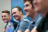 Picture by Alex Whitehead/SWpix.com - 31/09/2018 - Cycling - OVO Energy Tour of Britain - Celtic Manor Resort, Newport, Wales - (L-R) Connor Swift of Madison Genesis, Chris Froome of Team Sky, Geraint Thomas of Team Sky and Tom Pidcock of Team Wiggins speak during a press conference ahead of Sunday's first stage.
