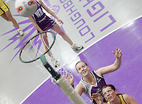 04 MAY 2007 - LOUGHBOROUGH, UK - Heather Clarke waits to see if she has scored for Loughborough Lightning (Purple) in their match against Northern Thunder (Yellow). (PHOTO (C) NIGEL FARROW)