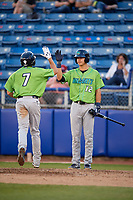 Lynchburg Hillcats left fielder Jodd Carter (7) is congratulated by Luke Wakamatsu (12) as he crosses the plate after hitting a home run during a game against the Salem Red Sox on May 10, 2018 at Haley Toyota Field in Salem, Virginia.  Lynchburg defeated Salem 11-5.  (Mike Janes/Four Seam Images)