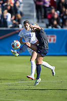 Cary, North Carolina - Sunday December 6, 2015: Maddie Elliston (5) of the Penn State Nittany Lions kicks the ball during first half action against the Duke Blue Devils at the 2015 NCAA Women's College Cup at WakeMed Soccer Park.  The Nittany Lions defeated the Blue Devils 1-0.