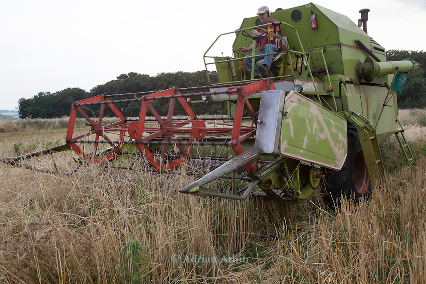 John Letts, Heritage grains<br /> <br /> John and his team have restored a 1970 Klaus Senator combine harvester which is well suited for harvesting small plots.  <br /> <br /> Biodiversity is not only within in the crop , there are many weeds growing in the field which adds to a natural  bio -diversity; increasing biological life. Since the wheat is cut high on the stem, it not only outcompetes the weeds the straw can also  be incorporated into  the soil increasing organic matter into the soil.