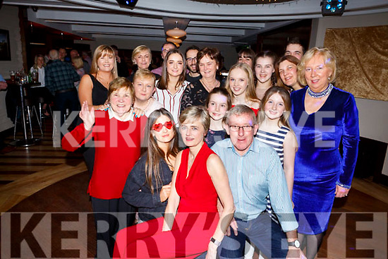 John L McElligott from Tralee, seated front centre, celebrating his big 60 Birthday with family and friends in Benners Hotel on Saturday night last